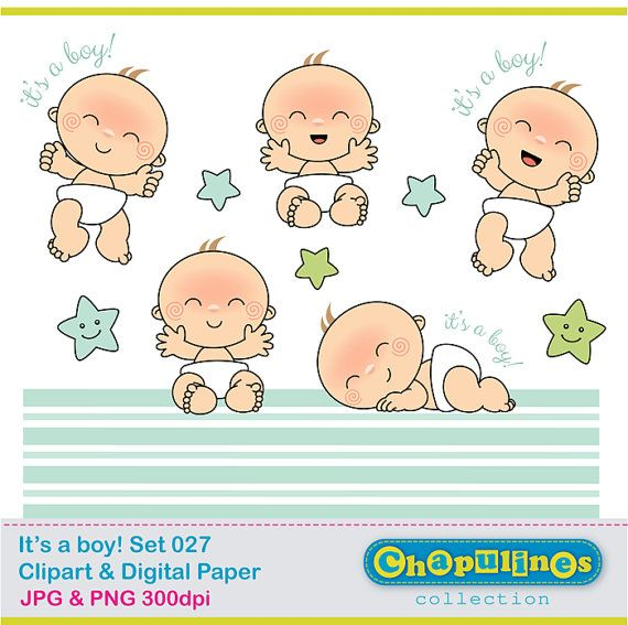 Baby boy Clipart and Digital Paper JPG and transparent background PNG clipart (the babies are 3 x 4 aprox.) The digital paper is 12 x 12 12