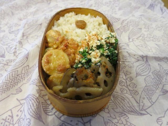 里芋のトマト&練りごま煮 春菊と人参の白和え レンコンのきんぴら