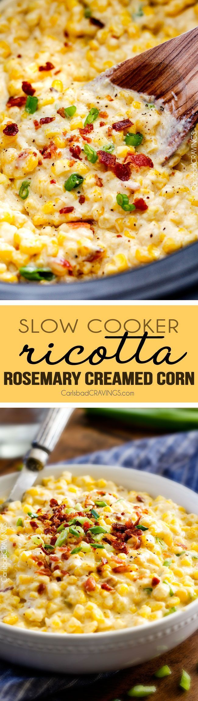 Slow Cooker Creamed Corn with Ricotta and Bacon - this has to be the BEST CREAMED CORN I've eaten in my entire life! Rich and creamy, seasoned to perfection, SO easy and practically fool proof! Definitely making this every Thanksgiving from now on!  via @carlsbadcraving