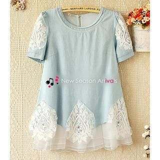 Buy 'Ringnor – Lace-Appliqué Mesh-Hem Top' with Free Shipping at YesStyle.ca. Browse and shop for thousands of Asian fashion items from China and more!