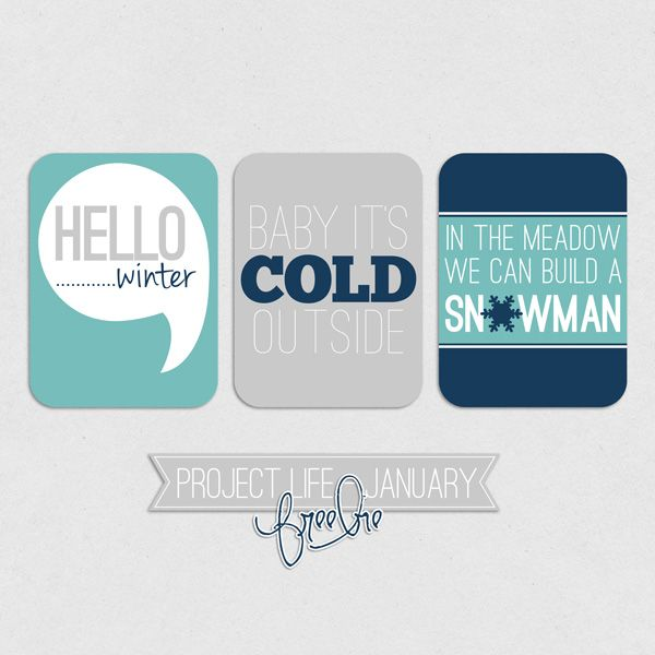 Project Life - Winter Filler Cards Freebie