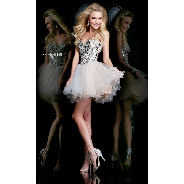 Nude Sherri Hill 11131 Short Corset Homecoming Dress ($249) via Polyvore featuring dresses, sherri hill, corset dress, short length dresses, short dresses and short corset