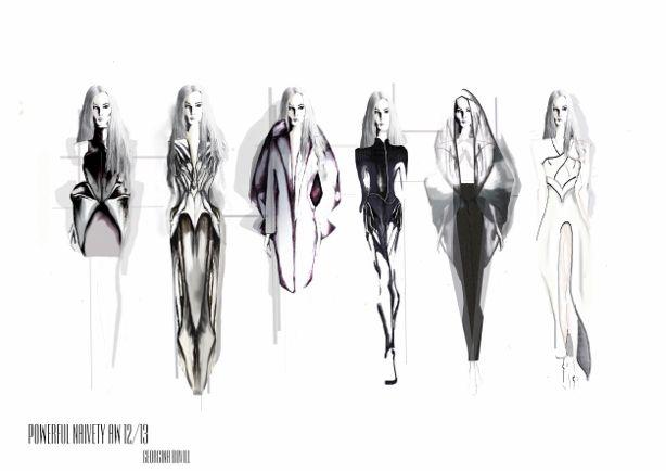 Fashion portfolio concept illustrations by Georgina Bovill