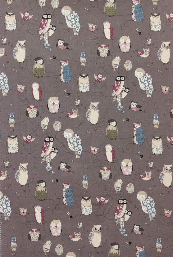 LAST 21 Inches - Spotted Owl by Alexander Henry - Smoke - 1 Yard - 5.75 Dollars