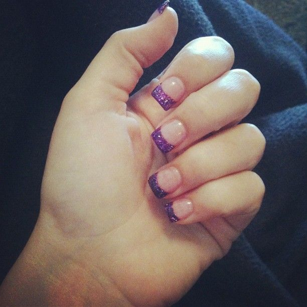 Purple Nail Designs For Prom: Sparkly Purple Nails