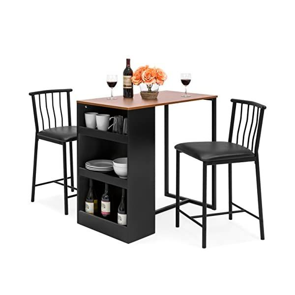 Best Choice S 36 Inch Wooden Metal Kitchen Counter Height Dining Table Set W 2 Stools Homecodex Mesas Altas De Bar Decoração Natal - What Height Chairs For 36 Inch Table
