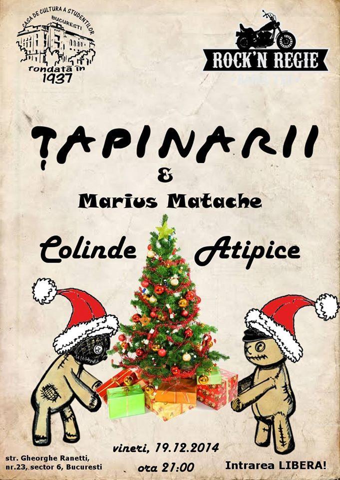 Vineri, 19 decembrie, ne vedem la Rock'n'Regie, Bucuresti, alaturi de Tapinarii