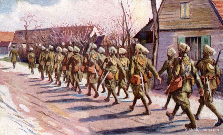 Sikhs Soldiers WWI Art Paintings Drawings World War - Sikhmuseum.com