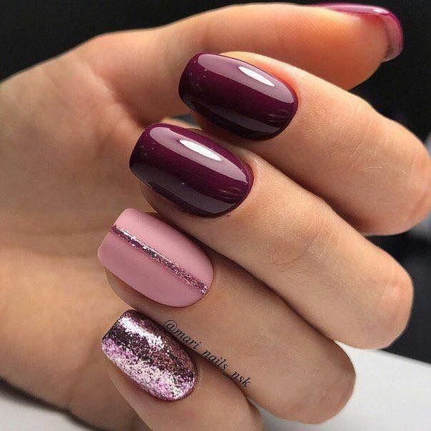 @mari_nails_nsk : Burgundy Nails, Matte Pink Accent Nail W