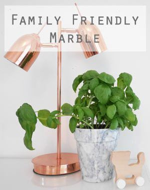 The Only Girl in the House Blog, Family Friendly Marble for your home interior. Get on board with the hottest interior trend - marble even if you have kids, baby etc. Pairs beautifully with dark inky blue, blush pink, copper, rose gold and of course - grey and white decor!