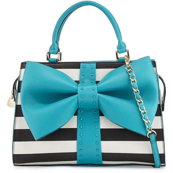 Betsey Johnson Curtsy Striped Bow Satchel Bag ($95) ❤ liked on Polyvore featuring bags, handbags, teal, betsey johnson handbags, teal handbag, betsey johnson satchel, blue purse and studded handbags