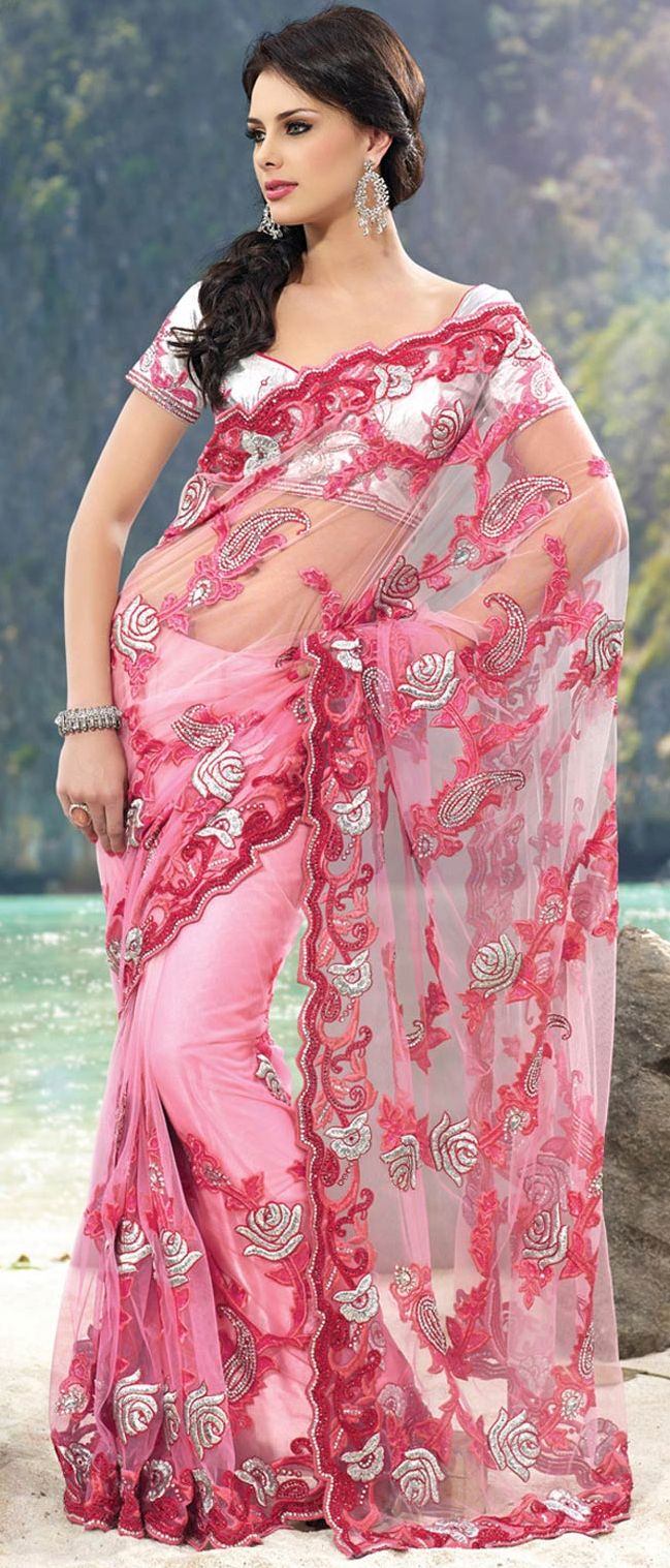 Shaded Light #Pink #Net #Saree With Blouse l