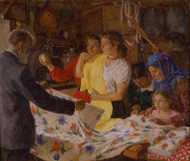 Виктор Киселев. «Покупательницы в сельпо перед праздником»