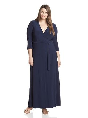 60% OFF JB by Julie Brown Women's Plus Jasper Wrap Maxi Dress (Navy)