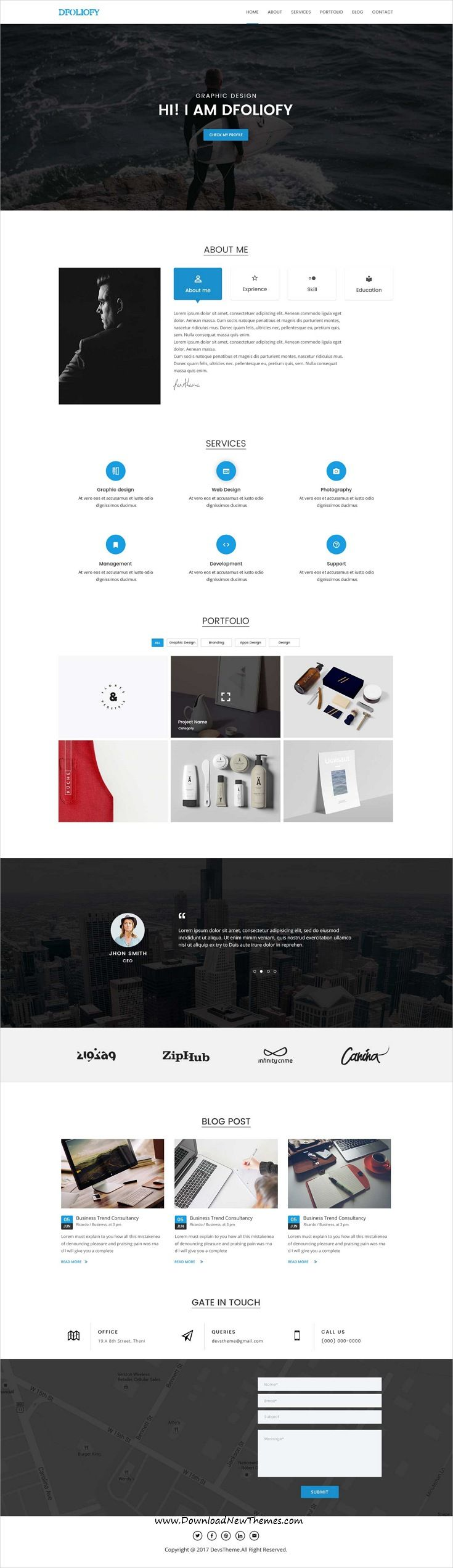dFolioy is clean and modern design #PSD template for onepage creative #resume and #Portfolio showcase website to live preview & download click on Visit