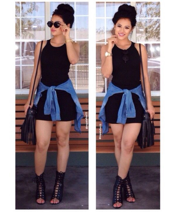 Black muscle shirt dress with denim flannel                                                                                                                                                                                 More