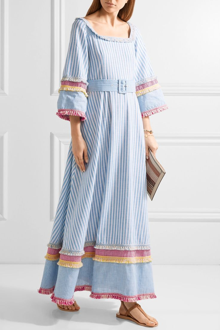Gül Hürgel | Fringed printed cotton and linen-blend maxi dress | NET-A-PORTER.COM