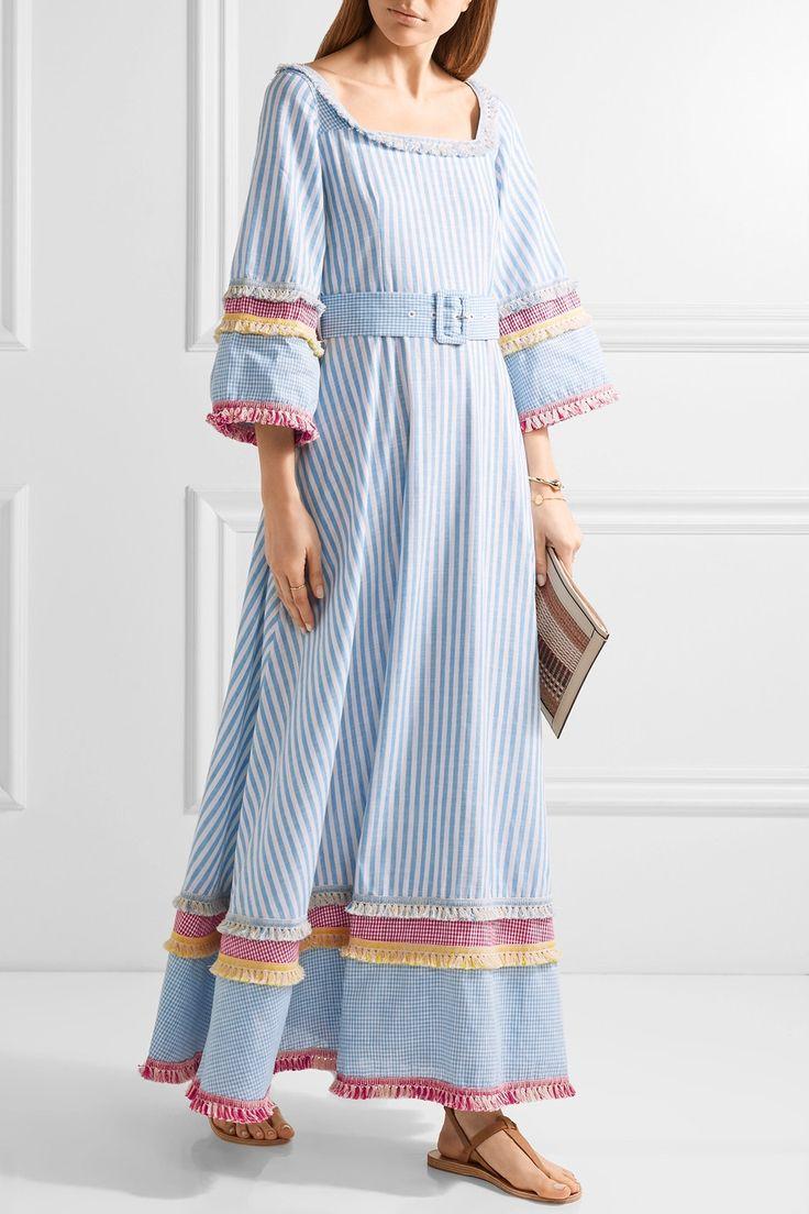 Gül Hürgel | Fringed printed cotton and linen-blend maxi dress | NET-A-PORTER.COM
