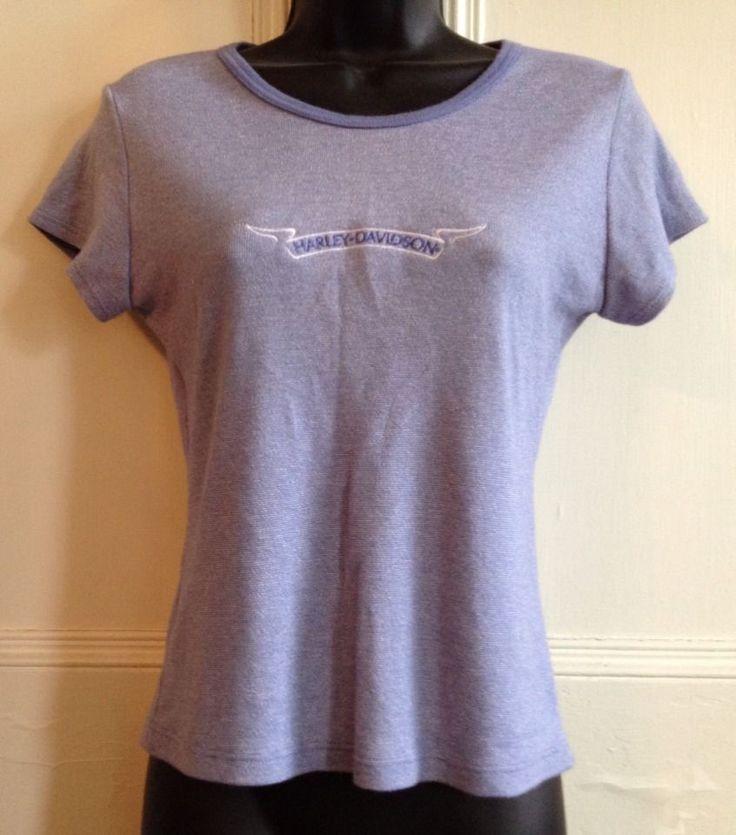 Harley Davidson T Shirt Womens Size L Syracuse Short Sleeve Tee Blue Poly Cotton #HarleyDavidson