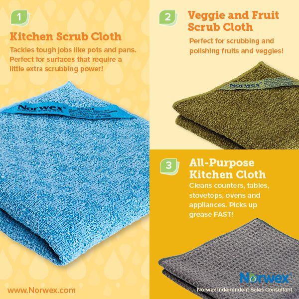 Norwex (1) Kitchen Scrub Cloth, (2) Veggie and Fruit Scrub Cloth, (3) All-Purpose Kitchen Cloth . For Facebook parties, online events and marketing.