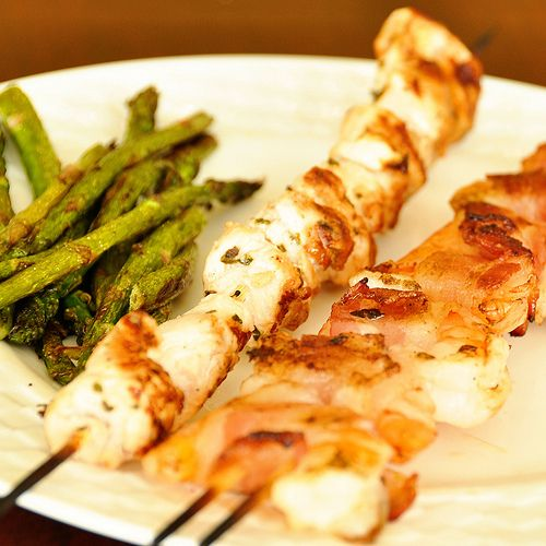 shrimp and chicken skewers by sugarlumpstationery, via Flickr