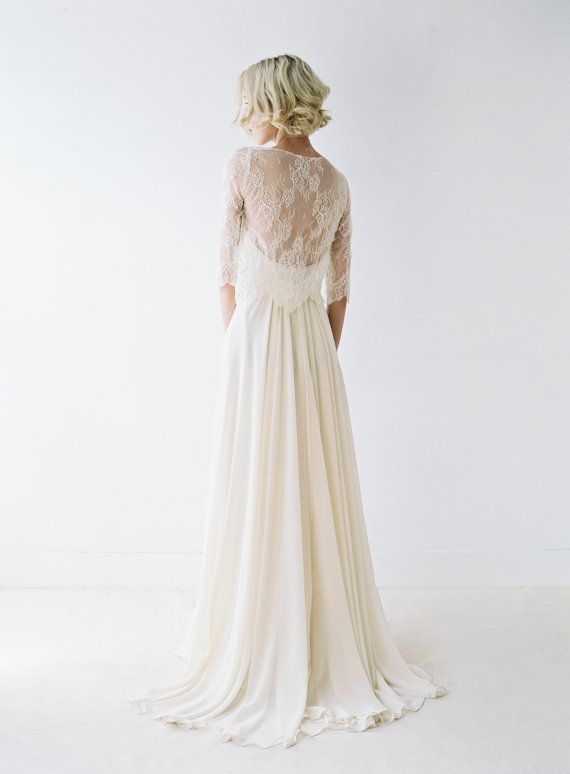 Blush Chiffon Wedding Dress With Removable Lace Shirt by Truvelle