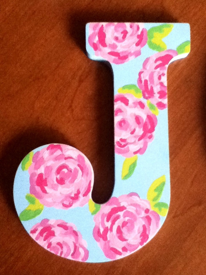 Lilly Pulitzer inspired painted wooden letters