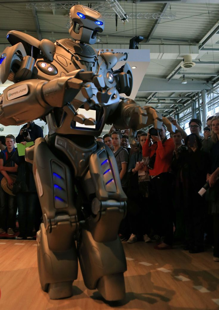 Titan the robot performs at an industrial fair in Hanover, Germany. from The Guardian