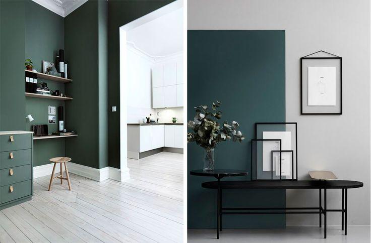 De grønne farver i indretningen er ikke lige frem en helt ny trend. Jeg begyndte allerede at snakke om de mørke farver i indretningen i starten af året, og siden hen har jeg lagt mærke til at farver, specielt mørkere farver, er væltet frem i indretningen. Det startede meget med de mørke blå....