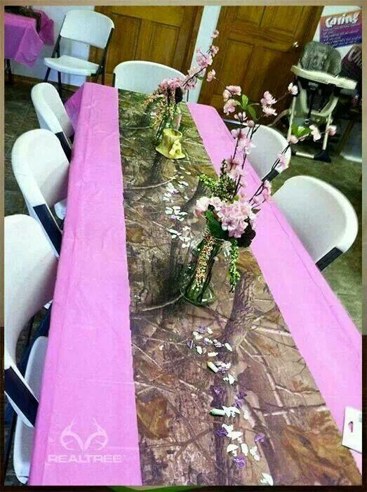 7 best girl baby shower centerpiece images on pinterest for Pink camo decorations
