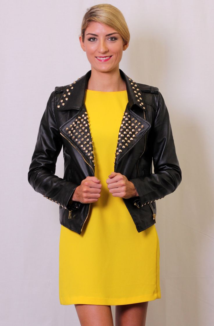 Amazing, studded, leather-look, jacket in black. Featuring gold studs on the lapels, collar and sleeves, zip up pockets and sleeves and an asymmetrical front zip. Fully lined. And only $63.99 on www.trendabelle.com