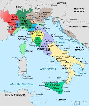 Las Guerras Italianas (o las Grandes Guerras Italianas y las Guerras de Italia) fueron una serie de conflictos sucedidos entre 1494 y 1559 que implicaron a los principales Estados de la Europa Occidental: Francia, España, Sacro Imperio Romano Germánico, Inglaterra, la República de Venecia, los Estados Pontificios y la mayoría de las ciudades-estado italianas, así como también el Imperio otomano (imagen:La península itálica en 1494)
