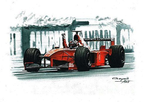 1998 Ferrari F300,  Michael Schumacher,  Eddie Irvine,  Ferrari F1 collection ART by Artem Oleynik. This collection demonstrating Ferrari F1 racing cars since 1950 to 2016 and includes 96 pictures in oil on canvas. The size of each original picture is 25 x 35 cm.