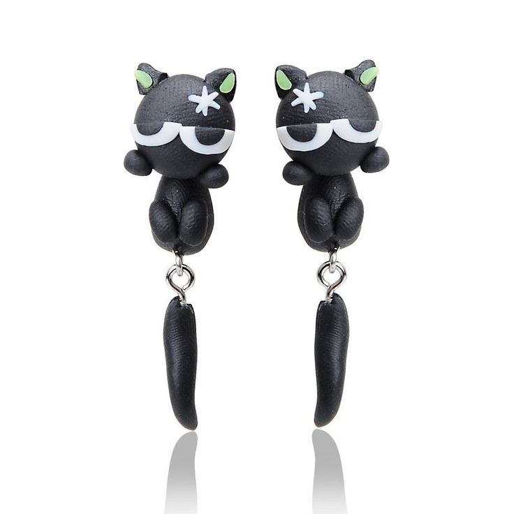 New to SpektroDesign on Etsy: Cat Eyes Clay Black/Green Earrings 3D (9.99 USD)