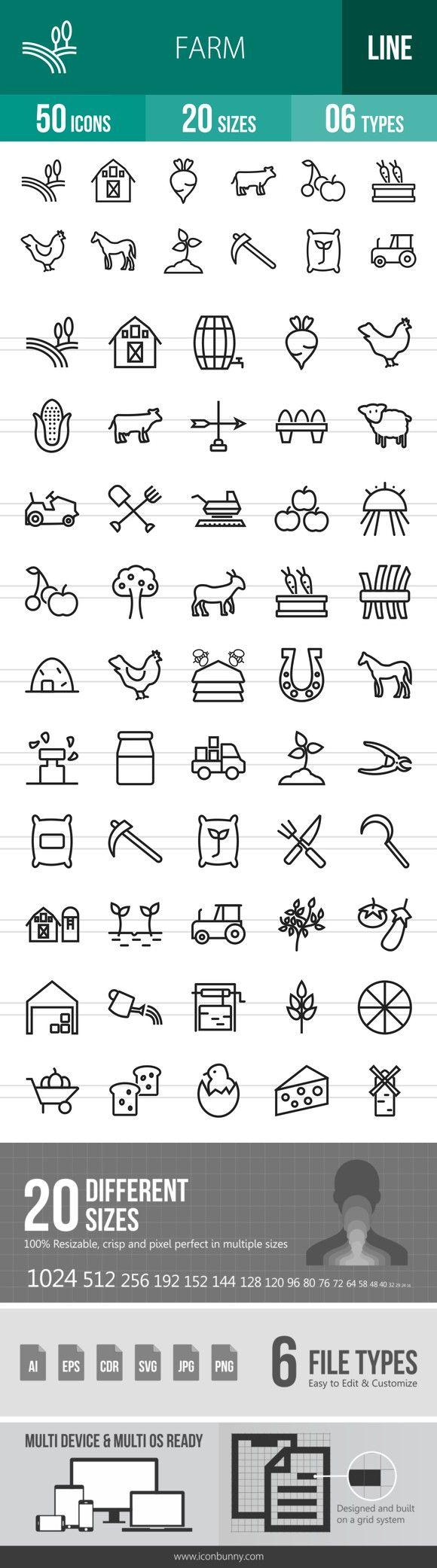 50 Farm Line Icons