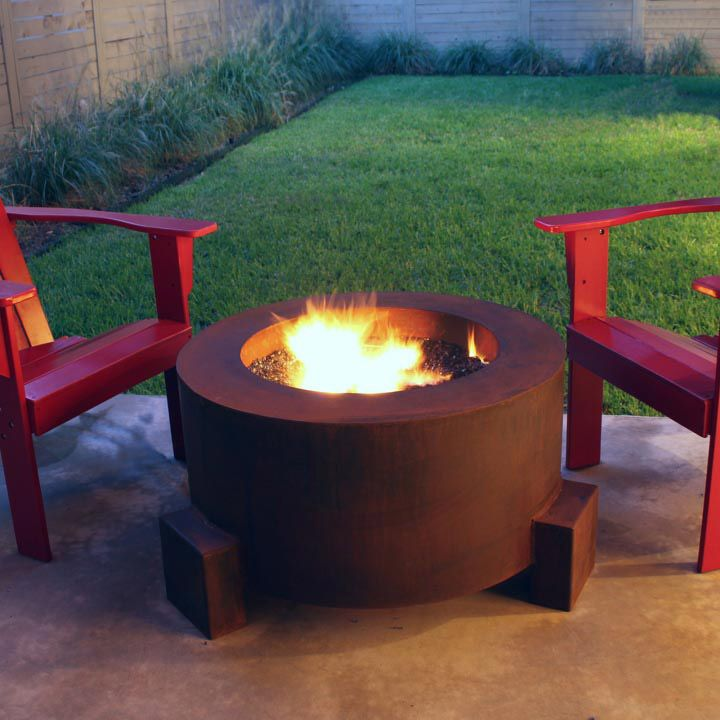 The Mini Round Cor Ten Steel Outdoor Fire Pit Would Be Great For Any Deck  Or Patio.