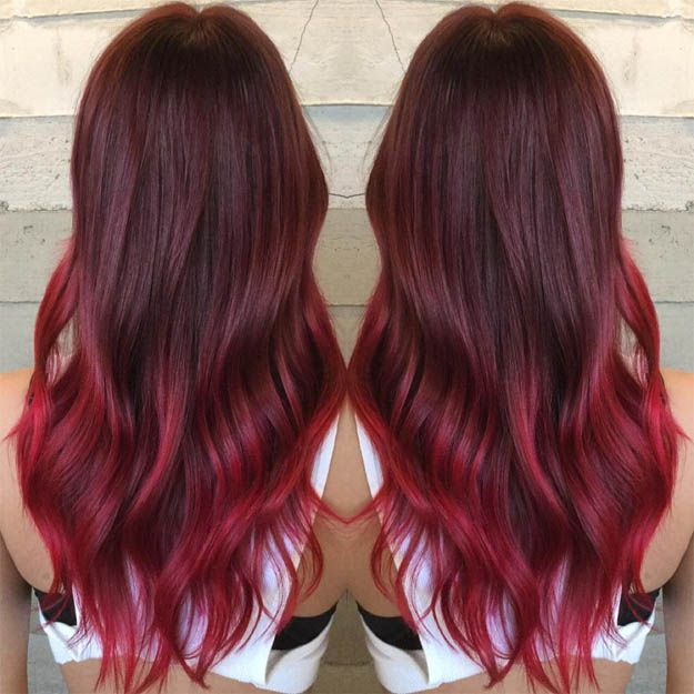 Looking for a unique ombre hair color ideas? We've got you covered. Head over our site to see 15 awesome hairstyles. } Burgundy Red Ombre   15 Ombre Hair Color Ideas