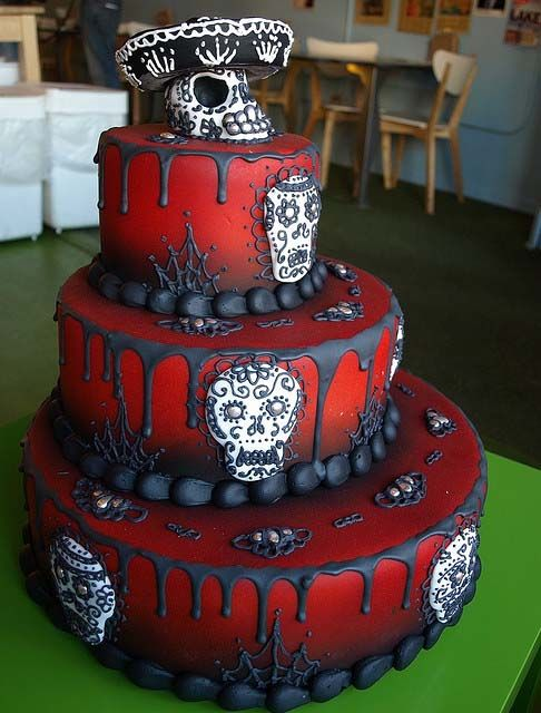 Day Of The Dead Cake: Halloweenfood, Halloween Parties, Halloweencak, Wedding Cakes, Halloween Food, Halloween Cakes, Sugar Skull Cakes, Red Black, Birthday Cakes