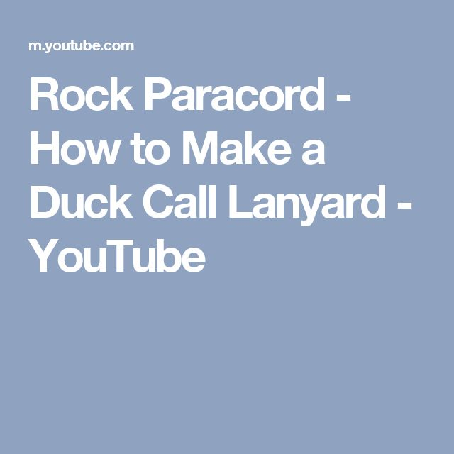 Rock Paracord - How to Make a Duck Call Lanyard - YouTube