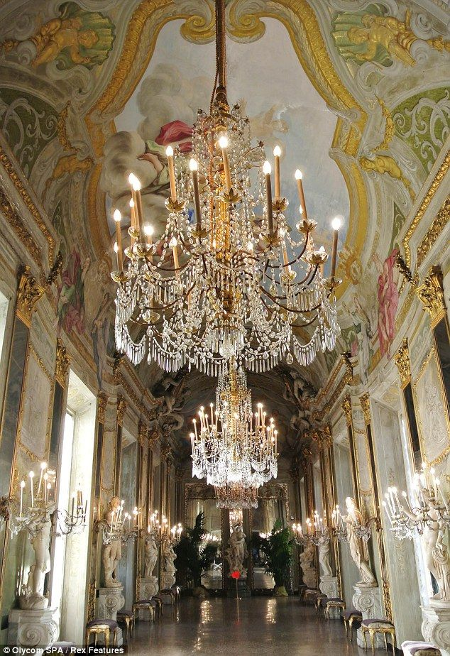 Monaco's palace with marbles,chandelier set for the Princess Grace movie