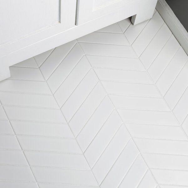 Floor Tile Retro Soho Chevron 1 75 X 7 Porcelain Field Tile In White White Bathroom Tiles Tile Bathroom Bathroom Floor Tiles