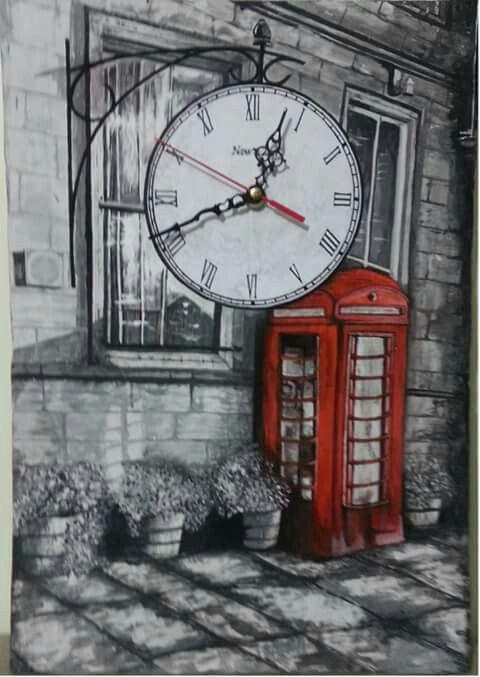 35* 50 tuval akrilik el boyama saat calisiyor