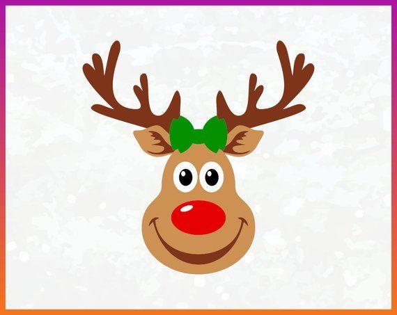 Reindeer Girl Svg Red Nosed Reindeer Svg Clipart Silhouette Vector File Digital Download Dxf Eps Png Iron On Transfe Snowman Images Reindeer Red Nosed Reindeer