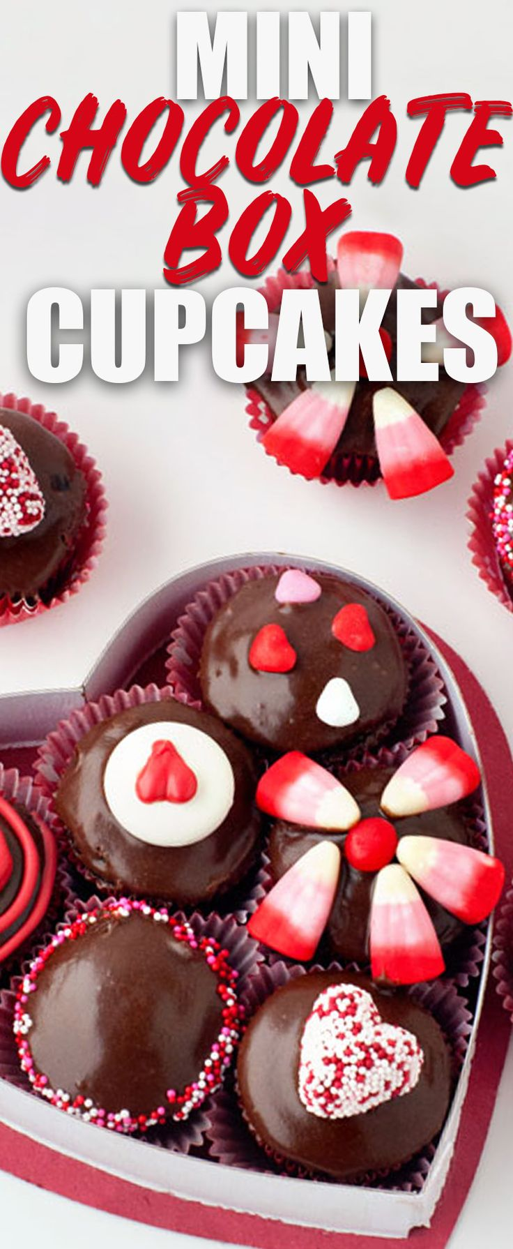 These Mini Chocolate Box Cupcakes are the cutest Valentine's Day dessert you can make! Use cake mix and some creative ideas to turn these into a cute heart box that looks like a box of chocolates! via @heatherlikesfood