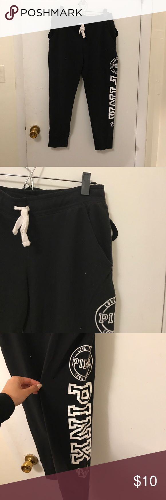 PINK Jogger Sweatpants Black jogger  sweatpants with PINK lettering in white on the side. Pockets in front. Worn once. PINK Victoria's Secret Pants Track Pants & Joggers
