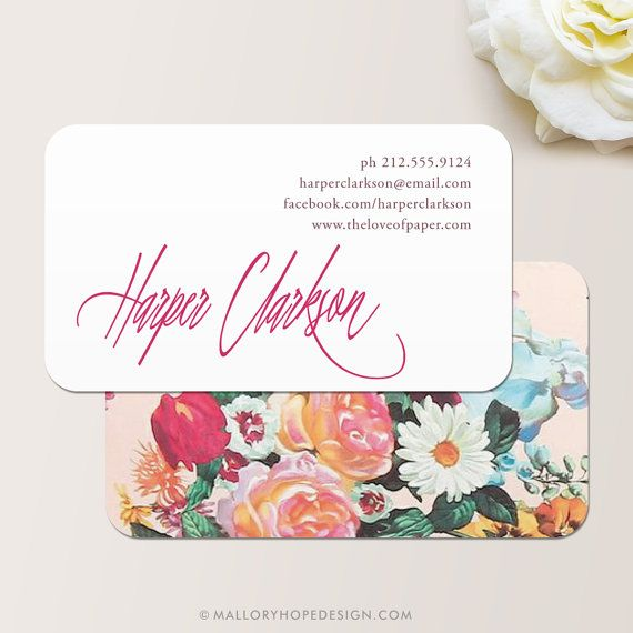 Signature Floral Business Card / Calling Card / Mommy Card © MalloryHopeDesign.com #floralprint #florals #spring