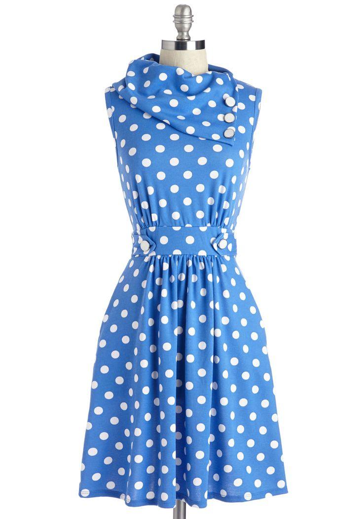 Coach Tour Dress in Blue Dots