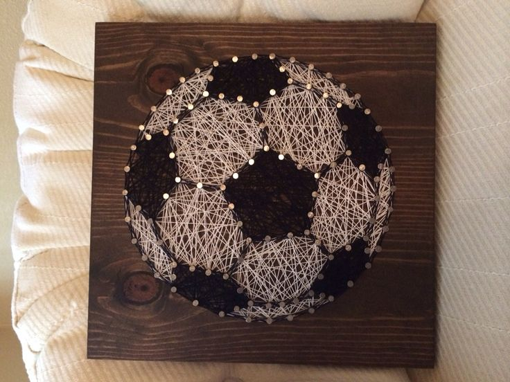 Soccer ball sports string art - Order from KiwiStrings on Etsy ( www.KiwiStrings.etsy.com )