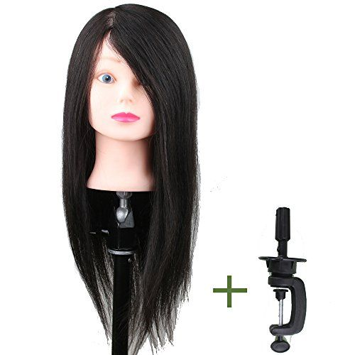 Dreambeauty Salon Trainning Head with Hair and Clamp Holder 22inch Real Human Hair Style Free Black Color