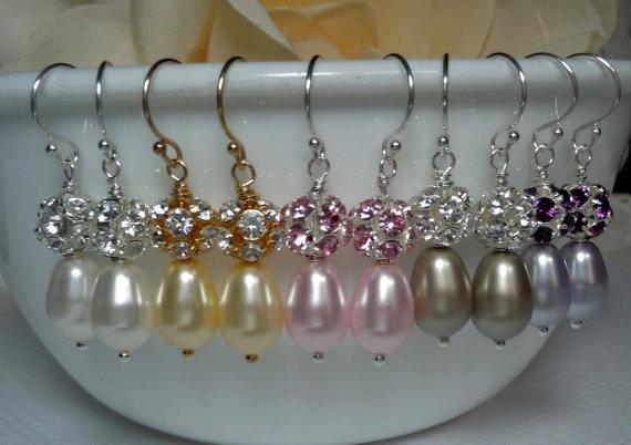 Swarovski Pearl and Crystal Fireball Earrings by QueenMeJewelryLLC, $26.99: Swarovski Pearls, Pearl Earrings, Fireball Earrings, Fireb Earrings, Pearls Earrings, Bridal Jewelry Pearls